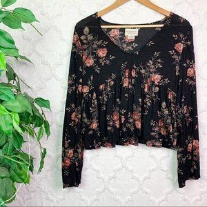 Denim & Supply RL Black Floral Babydoll Top